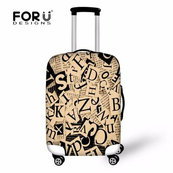 FORUDESIGNS Vintage 3D Letter Stretch Travel Protective Luggage Covers For 18-30 Inch Case Elastic Suitcase Cover With Zipper