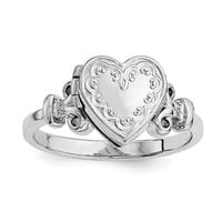 Sterling Silver 10mm Heart Locket Ring