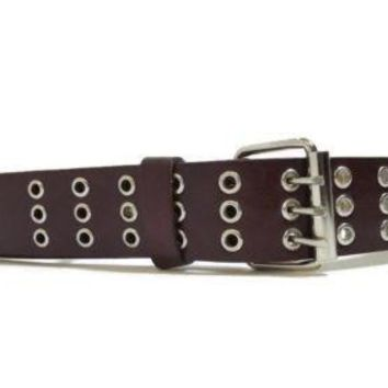 BROWN leather belt With Metal Silver Grommets Circles Womens Size Medium M