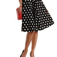Black Combo Polka Dot Full Midi Skirt by Charlotte Russe