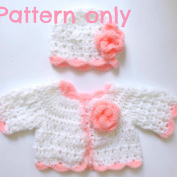 Baby cardigan and hat crochet PATTERN, 5 size , hat pattern , sweater pattern , size newborn- 12 months instant download