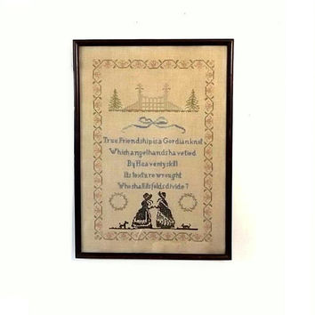 Antique Cross Stitch Sampler, Vintage 1920s Folk Art, Friendship Poem in Large Wood Frame 13 x 19
