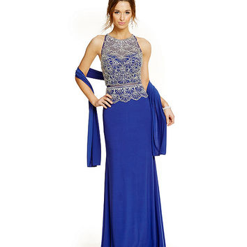 Coya Racer Back Mock 2-Piece Gown | Dillards