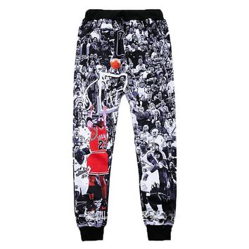 Cool Men Jogger Pants 3D Micheal Jordan 23 The Last Shot Print Sweatpants Hip Hop Stre