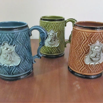 Vintage 1960s Set of Three (3) German Style Beer Steins Brown Green and Blue / King and Queen / Horse Shaped Handle / Oktoberfest / Japan