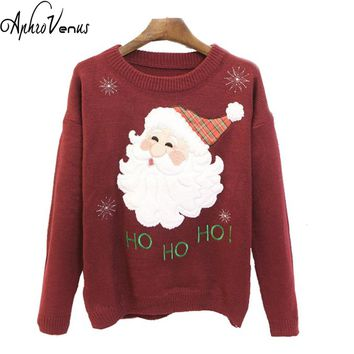 Christmas Sweater Women Pullover O-neck Embroidery Flower Cartoon Santa Claus Snowflake Sweater Women Long Sleeve Gifts Poncho