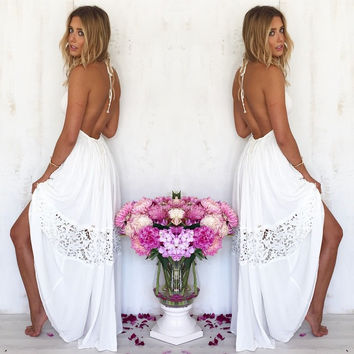 Sexy summer white  backless Sleeveless long dress
