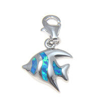 925 Silver Rhodium Hawaiian Tropical Fish Blue Opal Clasp Enhancer Pendant Charm