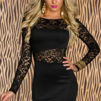 Lace Embroidered Long Sleeve Mini Bodycon Dress