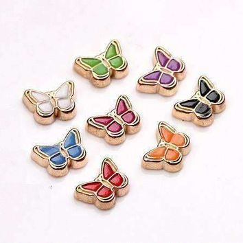 Colorful Enamel Butterfly Free Floating Charm for Charm Locket Necklaces ~ Choose Your Color