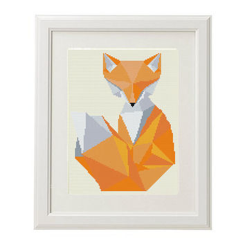 Fox Cross Stitch Pattern Animal Polygon Geometric Mosaic Modern Cross Stitch Pattern Embroidery cross stitch art Instant Download Home Decor