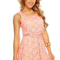 Neon Coral Netted Sleeveless Casual Summer Dress