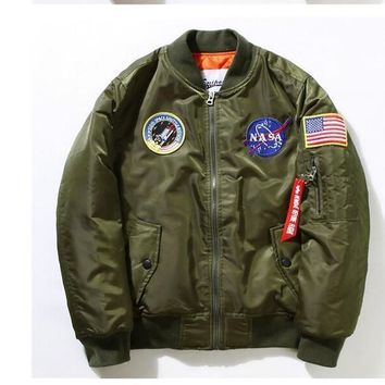 New Flight Pilot Jacket Men Bomber Ma1 Men Bomber Jacket Nasa Air Force Embroidery Baseball Military Thin Section Jacket S Xxl