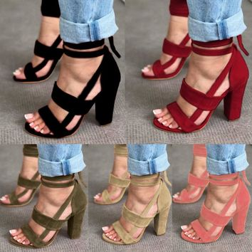 Lace UP Womens Ladies High Block Heel Open Peep Toe Lace Up Sandals Party Shoes