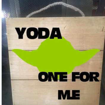 "Hand Painted Yoda One For Me Pallet Sign, 12""x12"" Wooden Sign With Rope Hanger"