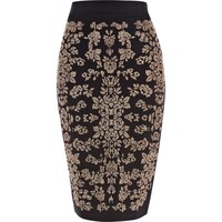 BLACK FLORAL BEADED PENCIL SKIRT