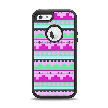 The Lime Green & Purple Tribal Ethic Geometric Pattern Apple iPhone 5-5s Otterbox Defender Case Skin Set