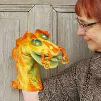 Hand puppet Yellow Dragon, felted creature for home theater, Muppet style creative play, nursery toy, gift for kids, eco-friendly toy, OOAK