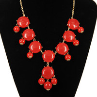 SALE RED 8 stone Bubble Necklace,Handmade Bib Necklace,Statement Neckalce-S001