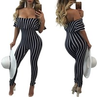 Off Shoulder Stripes Jumpsuit