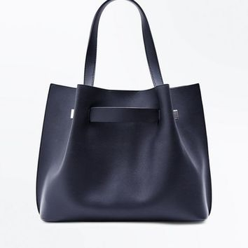 Black Ruched Tote Bag | New Look