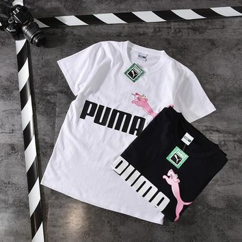 puma unisex fashion casual pink naughty leopard print letter couple short sleeve t shirt top tee