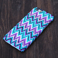 Abstract Turquoise and Violet Chevron Design iPhone 6s Case/Plus/5S/5C/5/4S Case #604