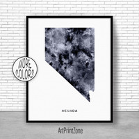 Nevada Art Print Nevada Decor Nevada Print Nevada Map Art Print Map Artwork Map Print Map Poster Office Art Print ArtPrintZone