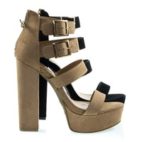 Tournament31 Camel By Camel Faux Suede, Chunky Block Heel Gladiator Open Toe Sandal On Platform