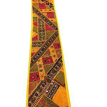 Ethnic Indian Table Runner Yellow Mirror Work Patchwork Table Throw Tapestry