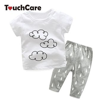 Clearance 2Pcs T-shirt+Pants Baby Clothing Set Cloud Tops Raindrop Pants Kids Clothes Spring Summer Short Sleeve Infant Sets