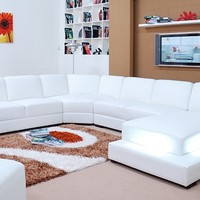 Large White Contemporary Leather Sofa Sectional - Opulentitems.com