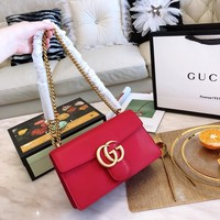 GUCCI Double G retro chain inclined span single shoulder bag