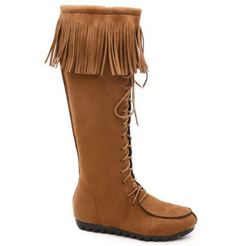 Mid-Calf Fringed Lace Up Boots