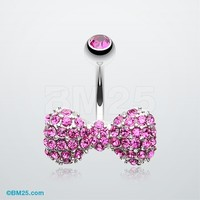 Sparkle Wonder Bow-Tie Belly Button Ring