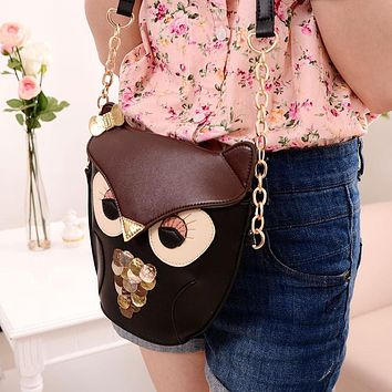 2017 New Fashion Sequins Chain Women Leather Handbags Cartoon Crossbody Bag Owl Fox Shoulder Bags Women Messenger Bags