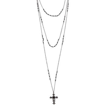 Black Triple Layer Cross Necklace