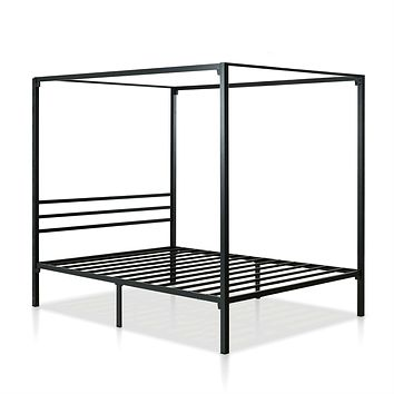 Twin size Modern Black Metal Canopy Bed Frame