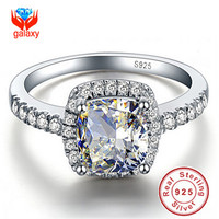 Hot Sale 100% 925 Sterling Silver Big 4 Carat CZ Diamond Crystal Wedding Rings For Women Fashion Jewelry RING SIZE 5 - 10 JZ1688
