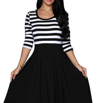 Black White Stripes Scoop Neck Sleeved Fit and Flare Dresses