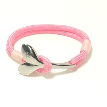 Pink Nautical Whale Tail Bracelet Stainless Steel 025