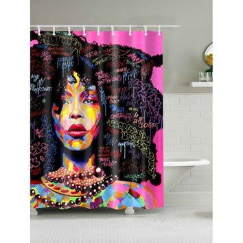 Girl Pattern Shower Curtain With 12pcs Hook