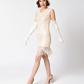 Vintage Style Ivory Gold Sheer Sleeveless Sequin Flapper Dress