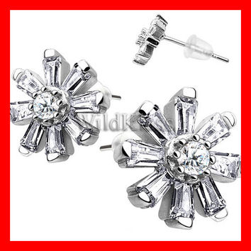 Pair of .925 Sterling Silver Multi CZ Flower Petal Tiny Stud Earrings Cartilage Earring Helix Jewelry Tragus Piercing Hex Ring Conch