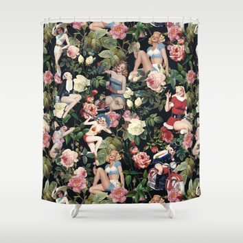 Floral and Pin Up Girls Pattern Shower Curtain by Burcu Korkmazyurek