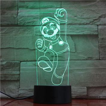 Super Mario party nes switch Cartoon Game Figure  3D LED USB Lamp Acrylic Novelty Christmas Lighting Gift RGB Touch Remote Controller Toys GX1908 AT_80_8