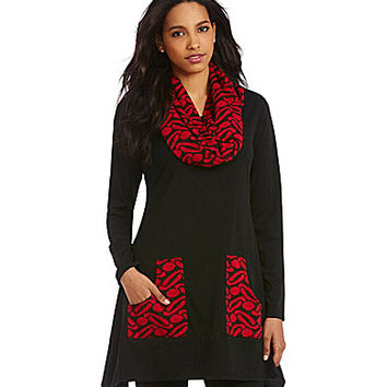 Ali Miles Tunic with Accent Scarf - Black