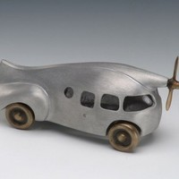 Aero Car Aluminum and Bronze Retro Style with Wheels and by Nelles