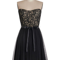 ModCloth Mid-length Strapless A-line Noir Narrative Dress