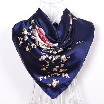 Large Square Elegant Large Silk Scarf 90*90cm
